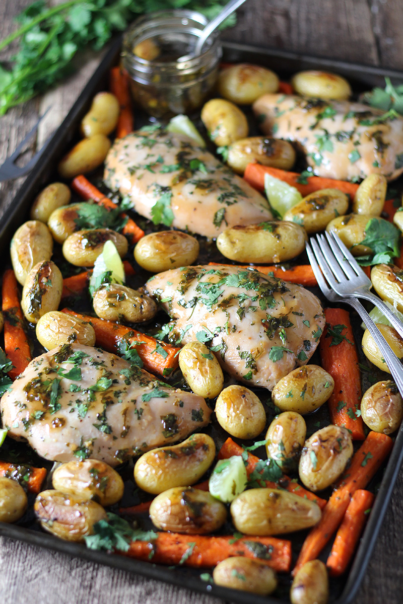 Honey Lime Cilantro Chicken Sheet Pan Dinner